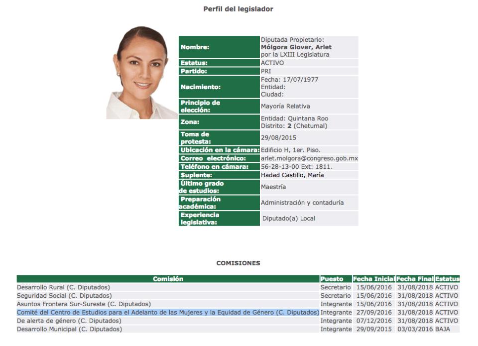 Arlet Mólgora, diputada del PRI que gritó puto