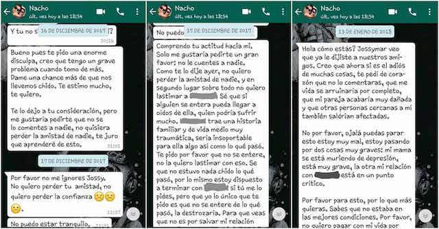 Mensajes de Héctor a Jossymar