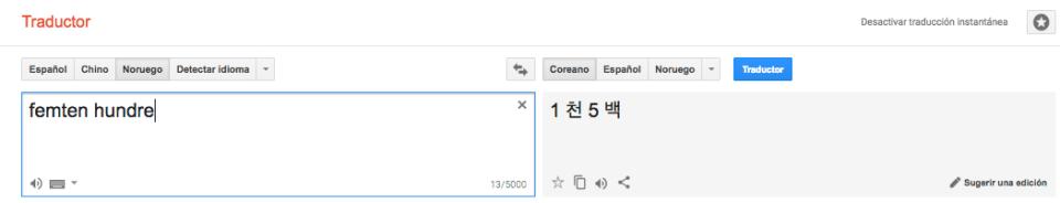 Traducción del noruego al coreano de 1 mil 500