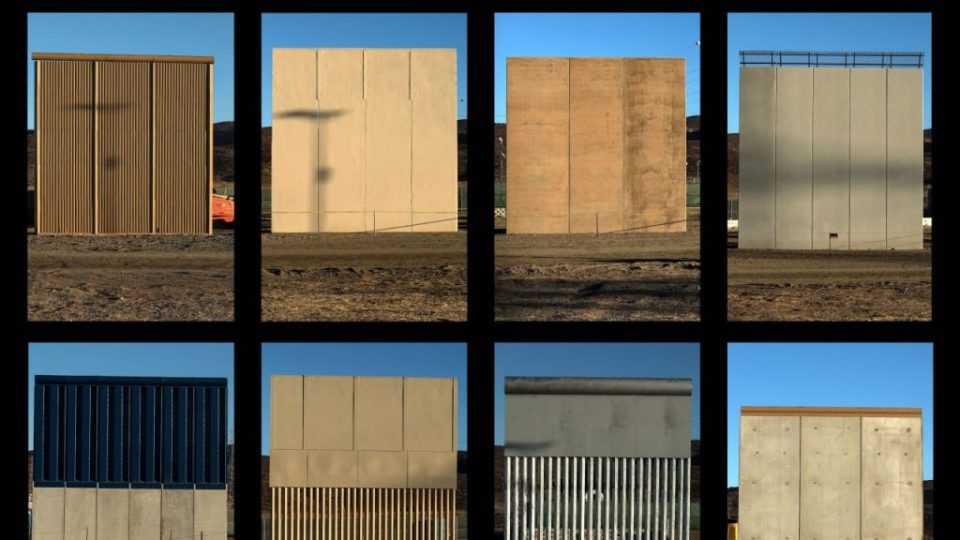 Prototipos del muro fronterizo entre EEUU y México