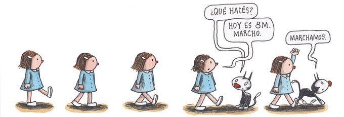 Cartón de Liniers para marcha del 8M