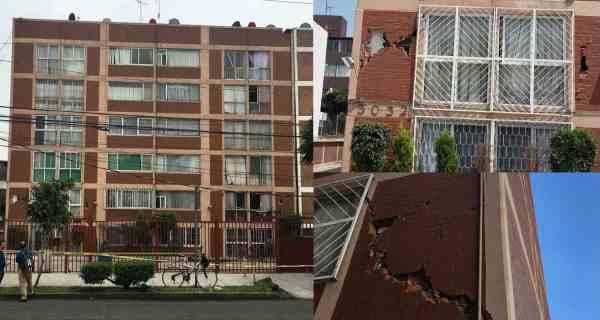Daño a los edificios de la colonia Girasoles en Coapa
