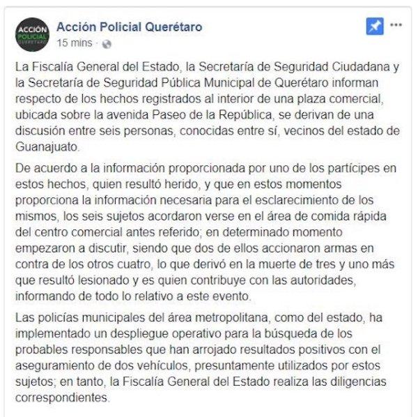 Mueren tres durante balacera en centro comercial de Querétaro