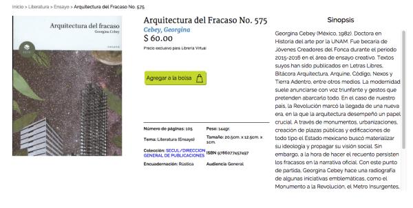 Arquitectura del Fracaso, Cebey en página de Educal