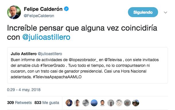 Calderón cree que Astillero concuerda con su postura con AMLO