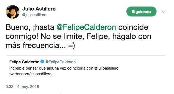 Astillero se burla de Calderón por AMLO