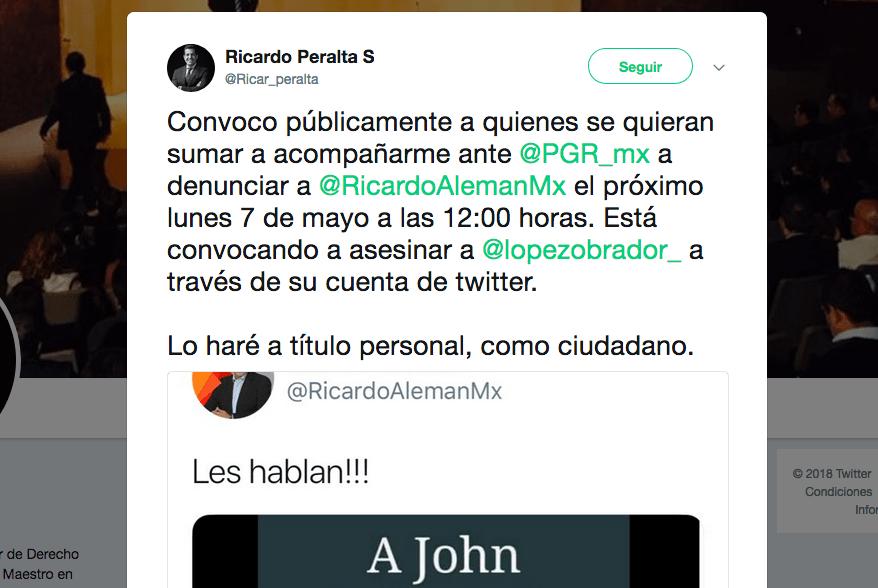 Ricardo Alemán Demanda Penal Ricardo Peralta AMLO