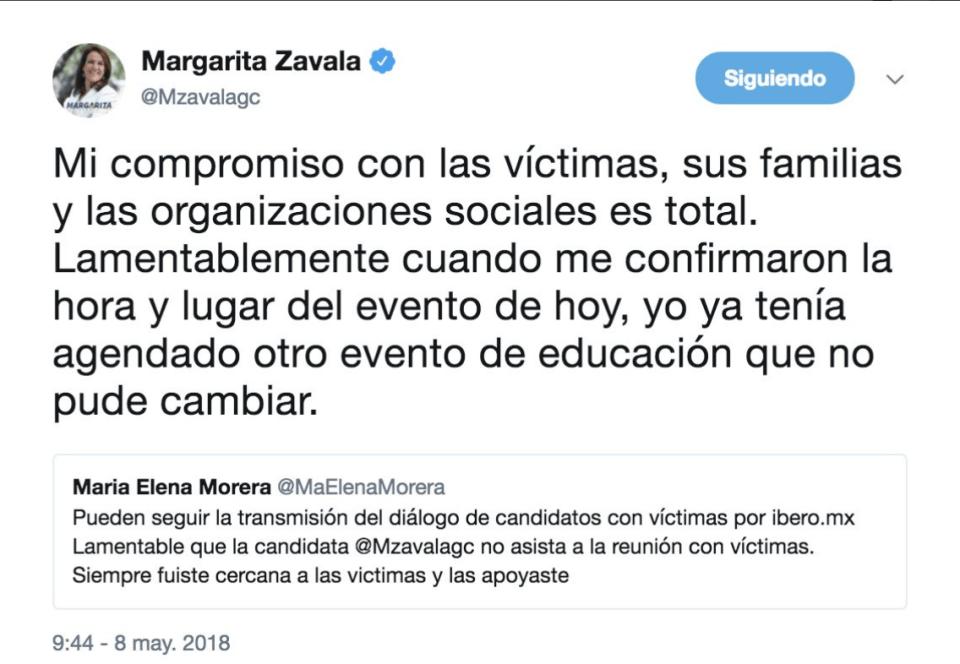 Margarita Zavala Ibero victimas Dialogos por la paz y la justicia