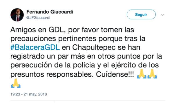 Balacera Guadalajara Zona rosa Chapultepec Nájera