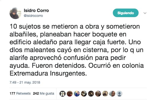 Robo Extremadura Insurgentes Benito Juárez Cisterna
