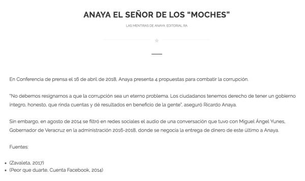 Otro capítulo de Las Mentiras de Anaya, libro publicado por Morena