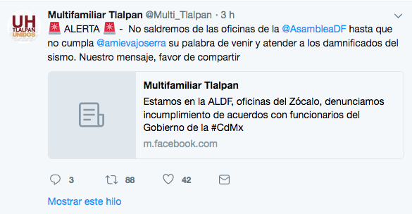 Amieva Multifamiliar Tlalpan Damnificados Plantados ALDF CDMX