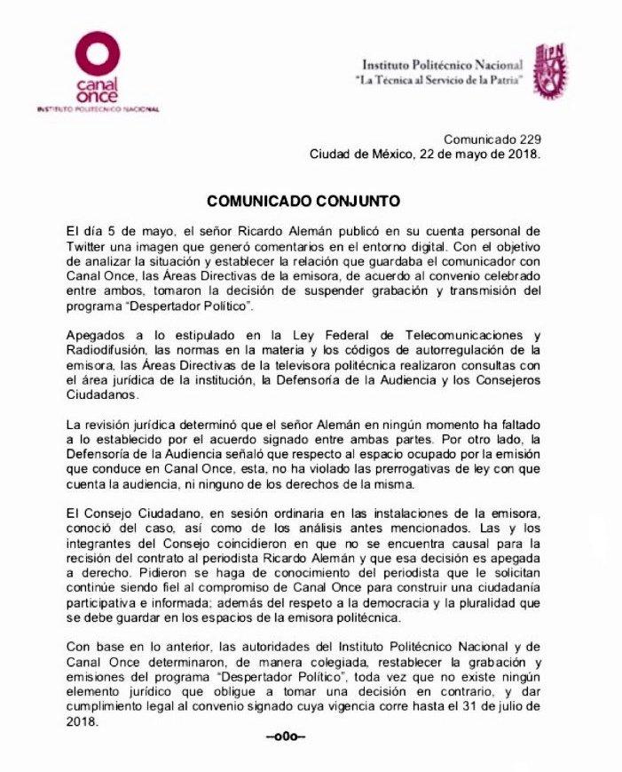 Canal Once reinstala a Ricardo Alemán en su programación: que no violó su contrato