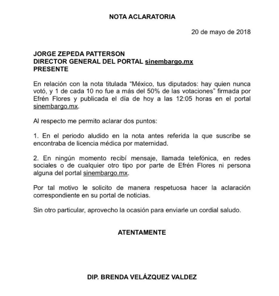 Nota aclaratoria respecto a diputada Velázquez Valdez