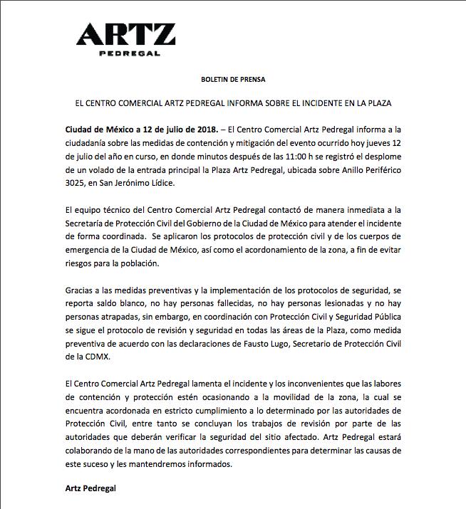 Boletín de prensa de Artz Pedregal por derrumbe parcial