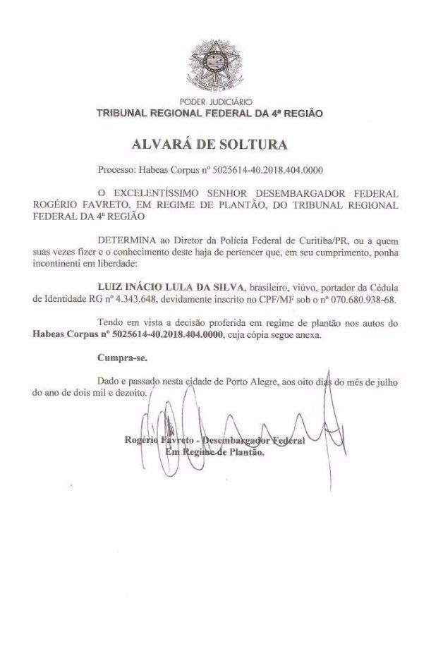Juez ordenó liberación de Lula; Presidente Tribunal reviró