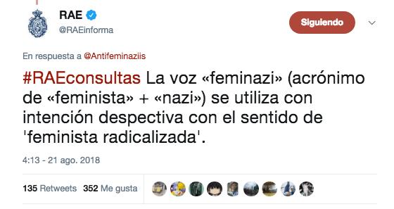 Definición RAE Feminazi Insulto Twitter