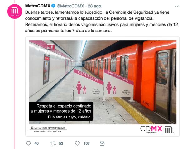 Metro, Vagones Exclusivos, Mujeres