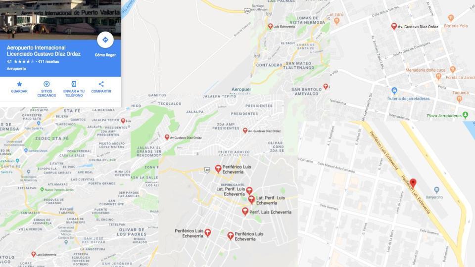 Calles y aeropuerto Díaz Ordaz y Echeverría en México