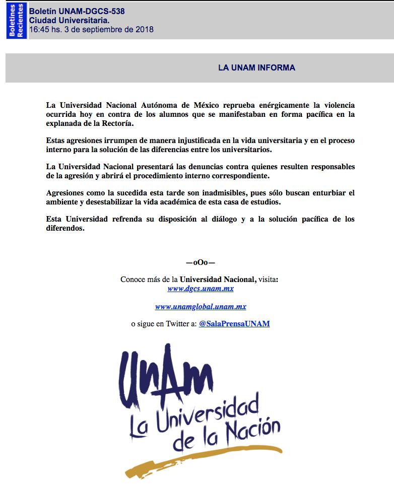 UNAM, Porros, Comunicado