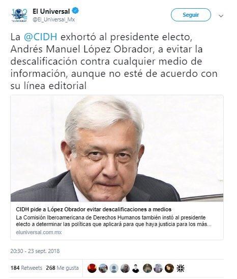 CIDH Comisión Iberoamericana de los Derechos Humanos El Universal AMLO