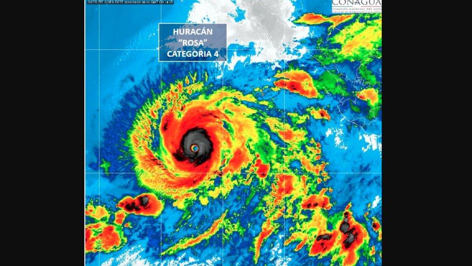 Imagen satelital del huracán Rosa, categoría 4