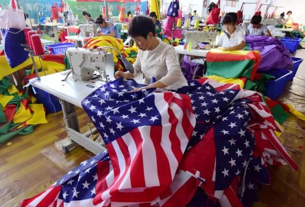 Las banderas de EEUU también se hacen en China