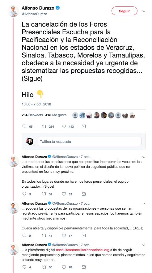 Hilo de Durazo explicando la cancelación de los foros de pacificación