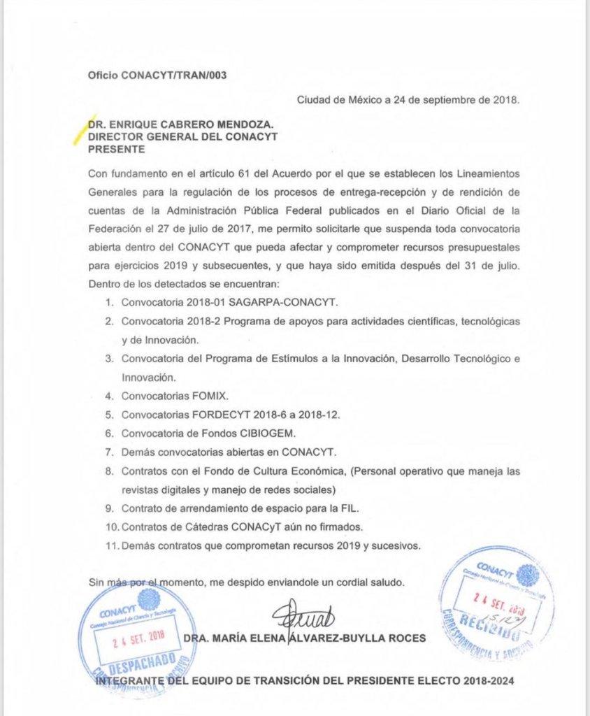 Carta de Álvarez-Buylla Roces al actual director del Conacyt