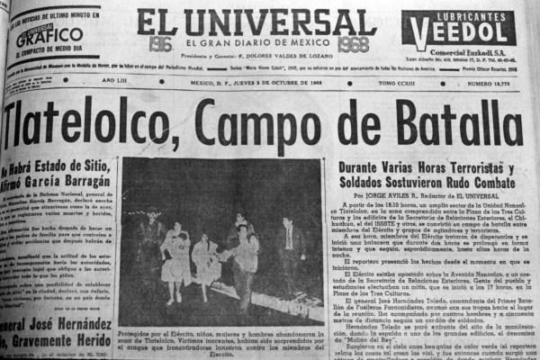 Portada de El Universal del 3 de octubre del 68