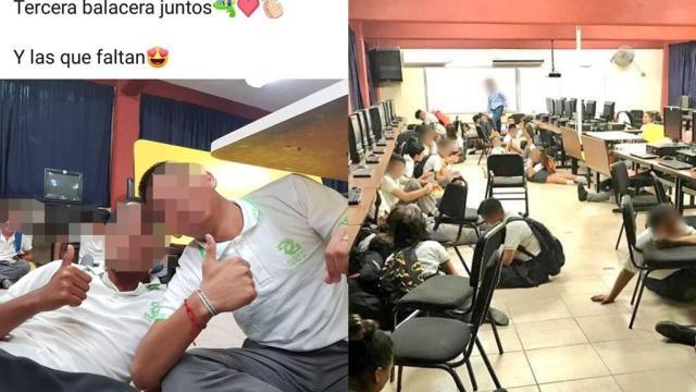 Alumnos se toman selfies durante balacera en Reynosa