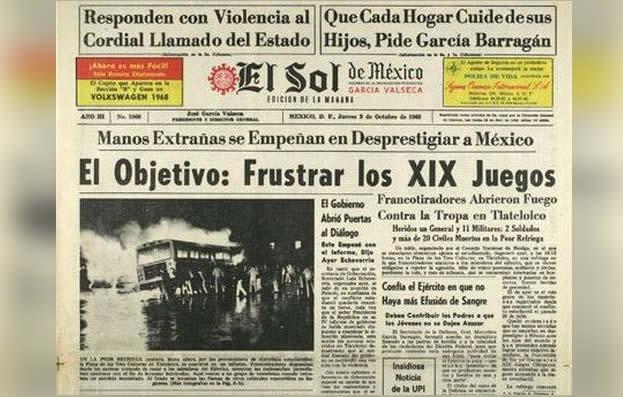 Portada de El Sol de México el 3 de octubre del 68