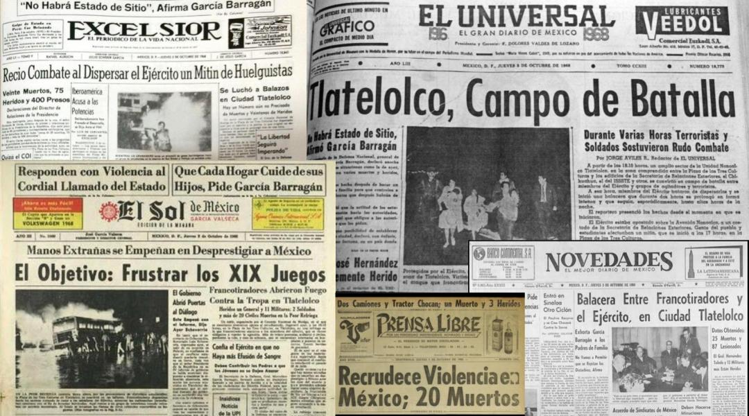 Qué titulares tuvieron los periódicos el 3 de octubre de 68