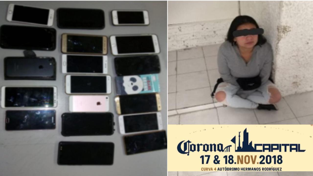 Capturan a presunta ladrona de Celulares en Corona Capital