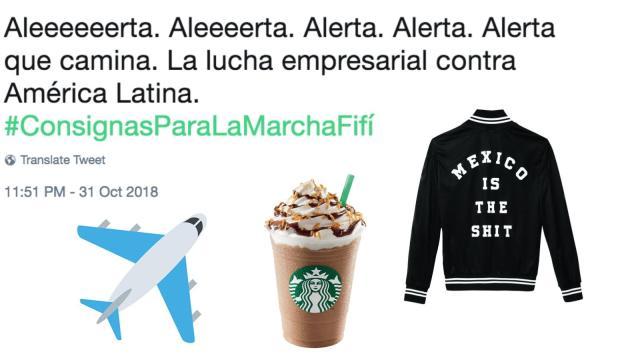 Consignas, Marcha Fifí, Aeropuerto Texcoco, NAIM