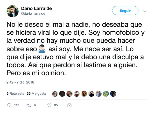 'Disculpa' de Larralde en Twitter
