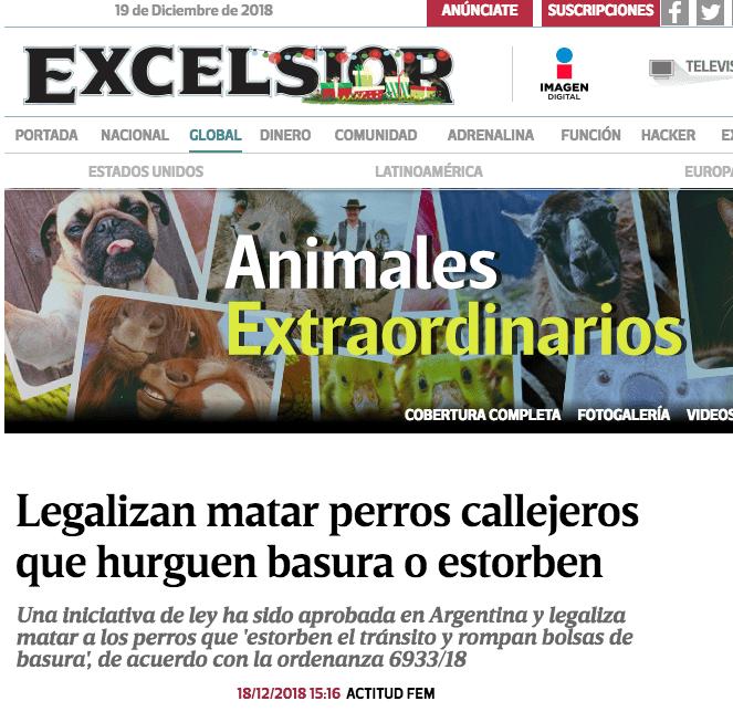 Excélsior y su nota falsa sobre perros en Argentina