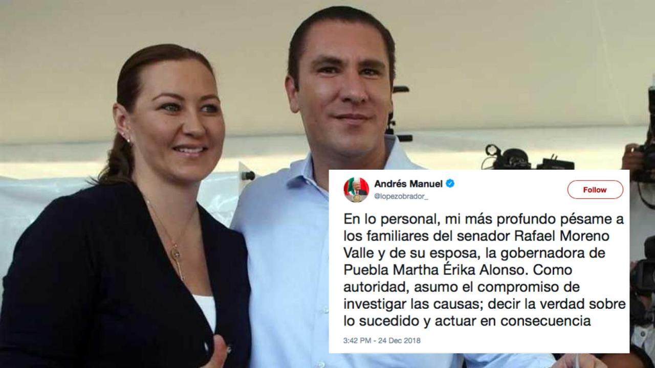 Fallecen Martha Erika Alonso y Moreno Valle en accidente aéreo