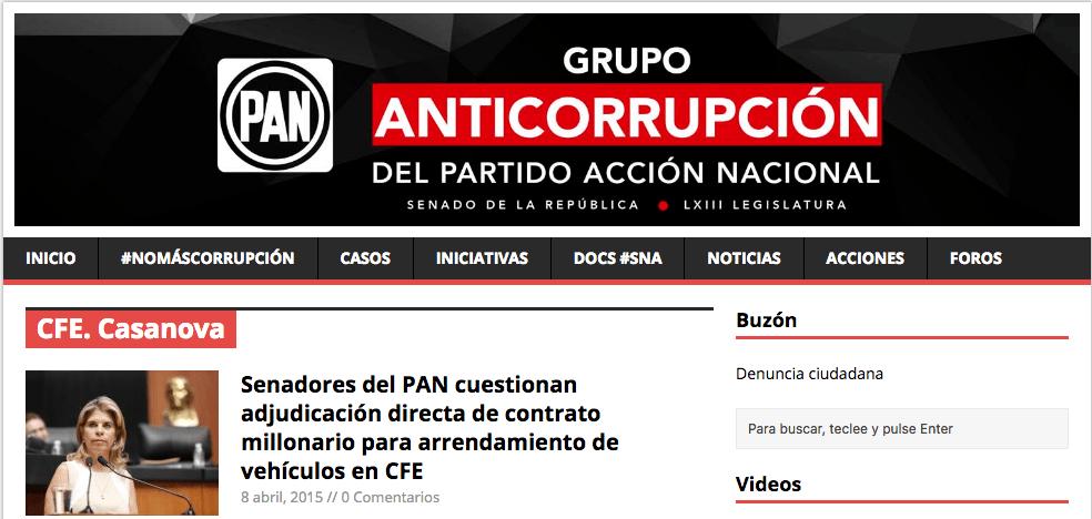 Medio de comunicación del PAN reportando contrato de Casanova y CFE