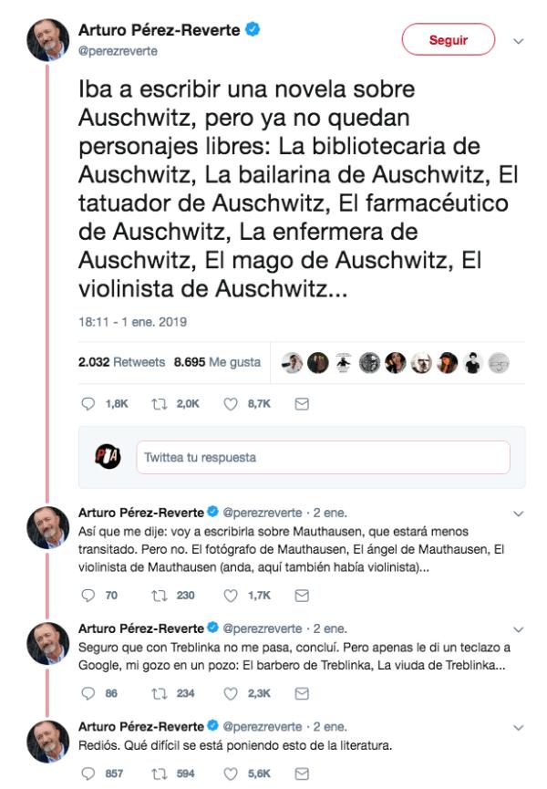 Hilo en Twitter de Pérez-Reverte burlándose de Auschwitz