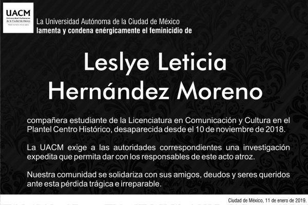 feminicidio de Leslye, estudiante desaparecida en noviembre
