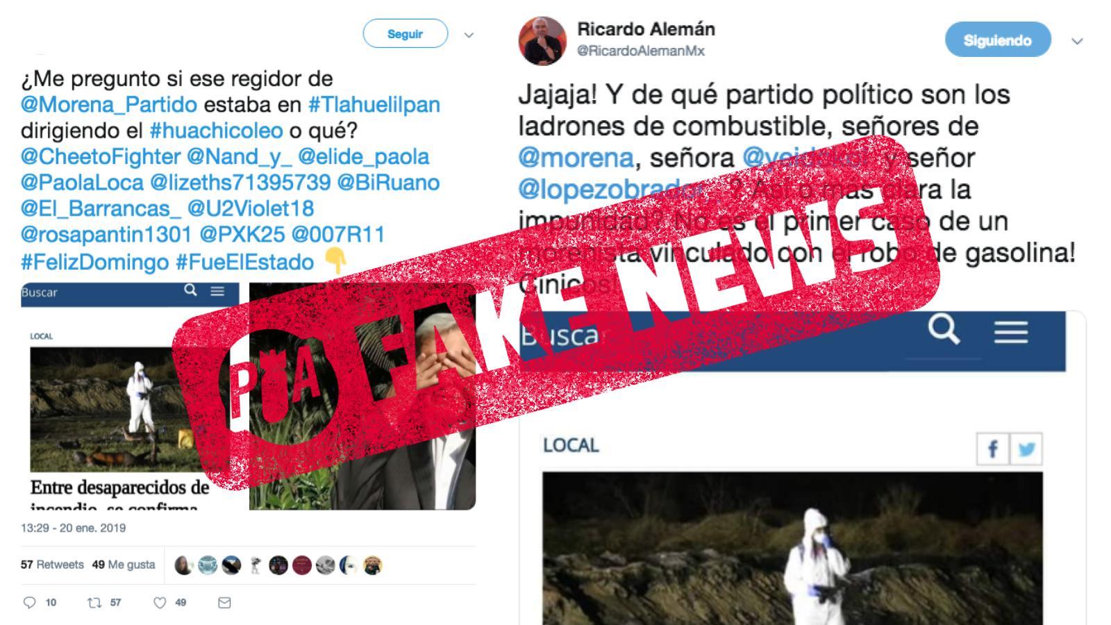 Es falso que un regidor de Morena haya muerto en la explosión de Tlahuelilpan. Se ha alterado un titular de un diario local