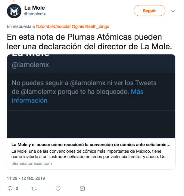 La Mole usa nota de Plumas Atómicas con declaración oficial