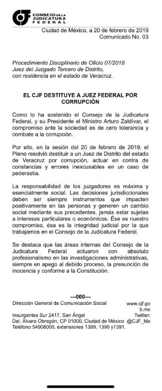 Comunicado del CJF donde anuncian la destitución del juez de los Porkys