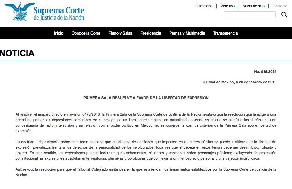 SCJN publica resolución a favor de Carmen Aristegui en su portal