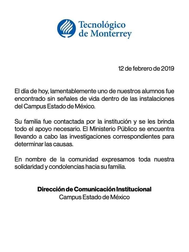 Comunicado del ITESM reportando la muerte del estudiante