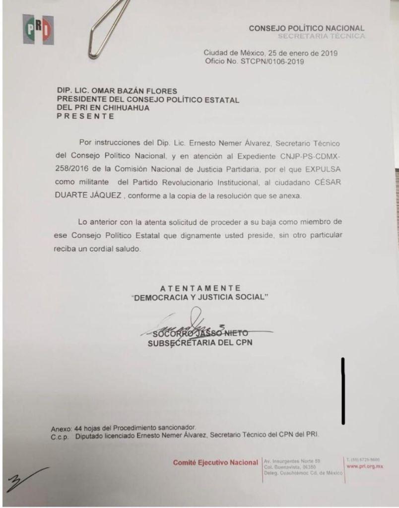 Comunicado del CNP que confirma la expulsión de Duarte