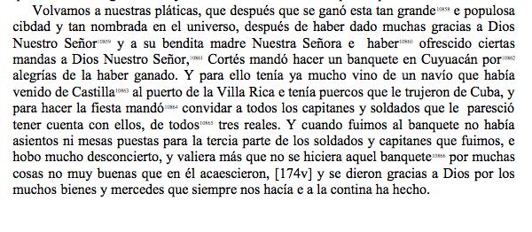 Fragmento de la Verdadera Historia... de Bernal Díaz del Castillo