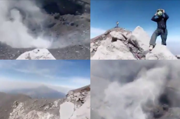Escalan al cráter del Popocatépetl por un video