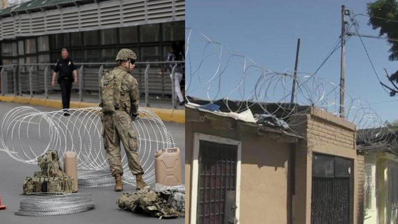 Roban alambre de púas de muro para sus casa en Tijuana